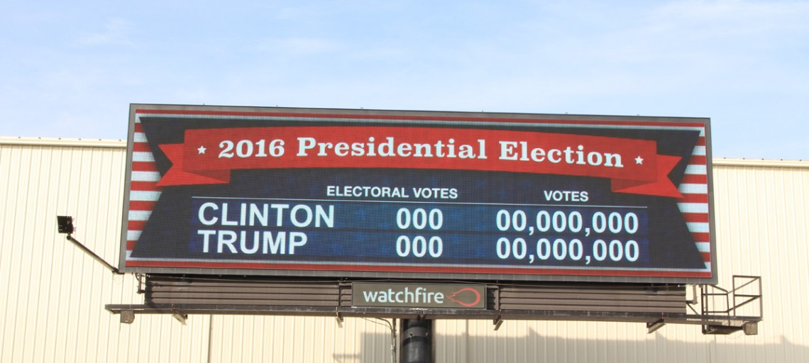 Digital Billboards with Presidential Election Results